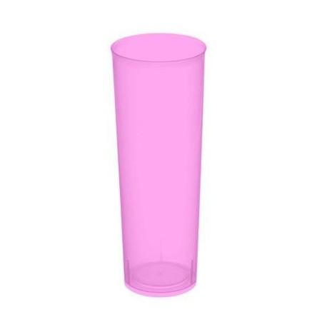 """Vasos de Plástico PP Tubo """"Irrompibles"""" Fucsia Flúor 300ml (Paquete 6 Uds)"""
